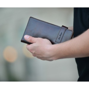 Клатч кошелек из кожи коричневый