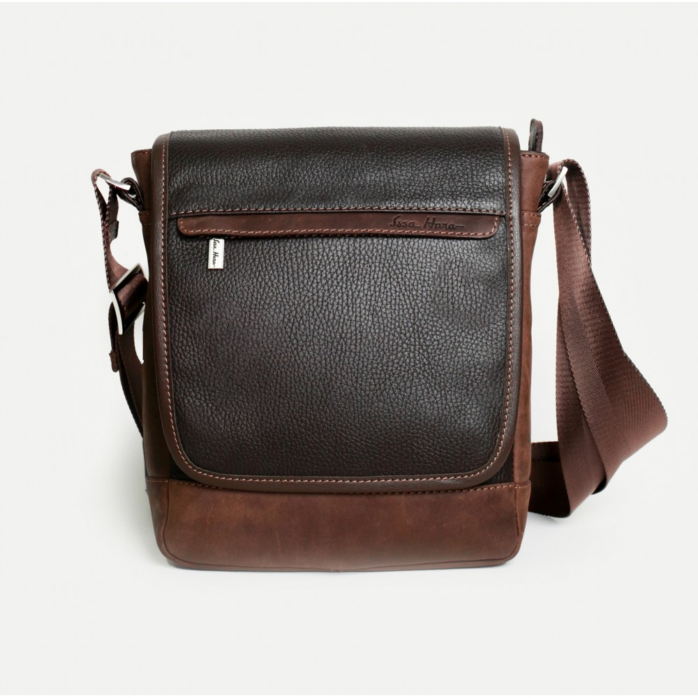 Кожаная сумка мессенджер коричневая