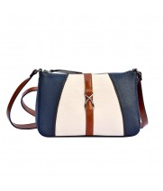 Кожаная женская сумка через плечо синяя