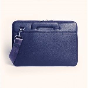 Leather laptop bag blue macbook 13 ""