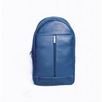 Синій шкіряний рюкзак