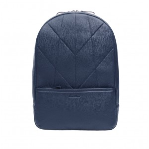 Men's leather backpack blue