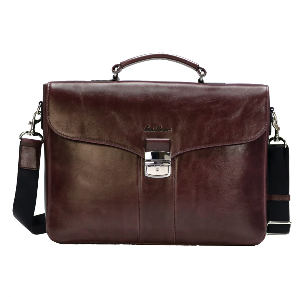 Leather stylish briefcase new photo