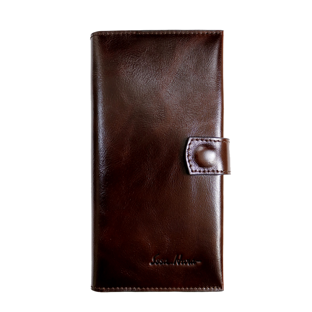 Clutch purse leather brown